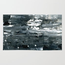 Tear B Black & White Textured Abstract no.1808 Rug