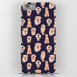 Golden Retrievers on Navy iPhone Case