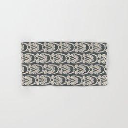 Crackled Scrolled Ikat Pattern - Ink Black Cream Hand & Bath Towel