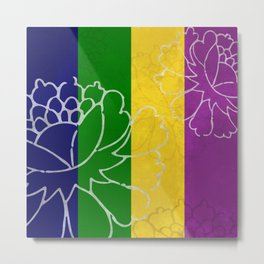 Chinese Flowers & Stripes - Purple Yellow Green Blue Metal Print