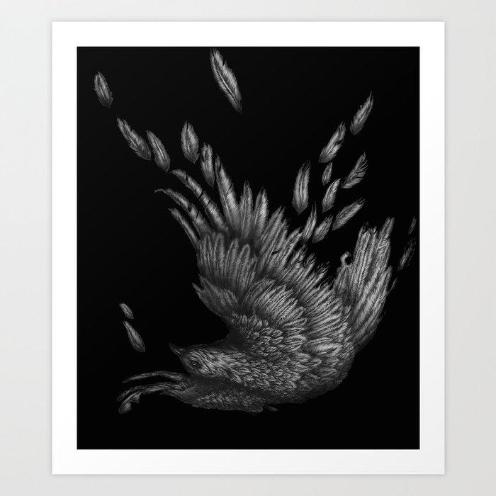 Raven Unravelled in Black Art Print