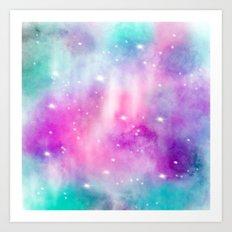 Trendy bright watercolor pastel nebula space hand painted Art Print