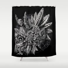 Aztec Great Lizard Warrior 1 (Triceratops) Shower Curtain