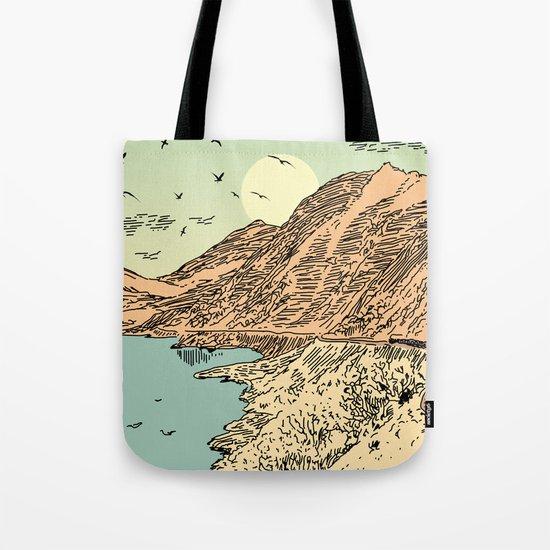 Mountain, Train & Lake Tote Bag