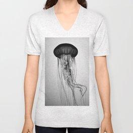 Jellyfish Black and White Unisex V-Neck
