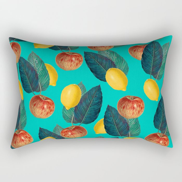 Apples And Lemons Teal Rectangular Pillow