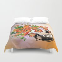 sugar skull Duvet Covers featuring Sugar skull by nicky2342