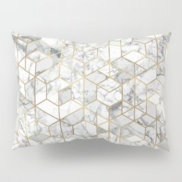 White marble geomeric pattern in gold frame Pillow Sham