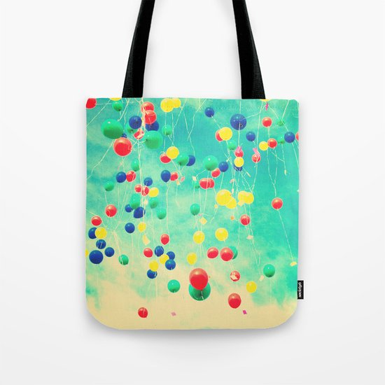 Let your wishes fly (Colour balloons in vintage - retro turquoise sky) Tote Bag