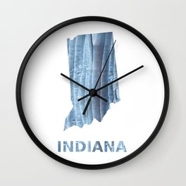 Indiana map outline Light steel blue nebulous watercolor Wall Clock