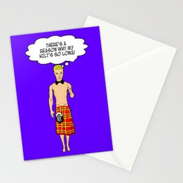There's A Reason Why His Kilt Is So Long! Funny Ken Doll Art! Stationery Cards