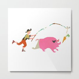 Pig and Carrot Metal Print