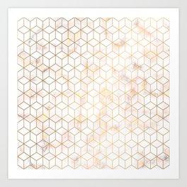 Geometric Gold Pattern on Gold Marble Art Print