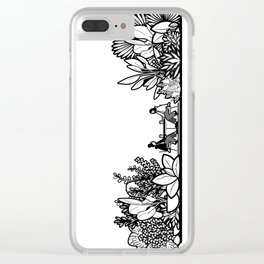 Mocha and Monstera IV Clear iPhone Case