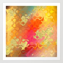Decorative Gold Sparkling Bright Abstract Design Art Print