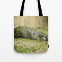 hippo Tote Bags featuring hippo by Mathilde Nieuwenhuis