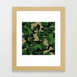 Camouflage Splinter Pattern Green Barret Framed Art Print
