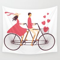 couple Wall Tapestries featuring Love Couple by JuliaTush