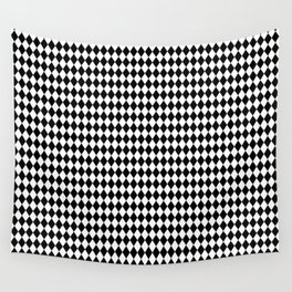 Black and White Harlequin Diamond Check Wall Tapestry