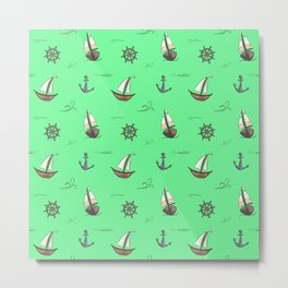Happy Sailing Pattern with green background Metal Print