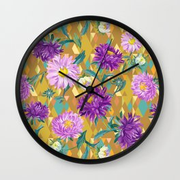 Violet Asters on gold background Wall Clock