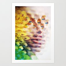 Bug Vision - Lush Vivid Multitudes of her Eyes and Face Art Print