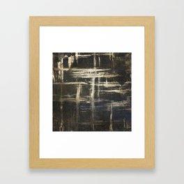Gold Brushstrokes on Black Framed Art Print
