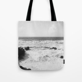 Vintage film style Black and white coast. Tote Bag