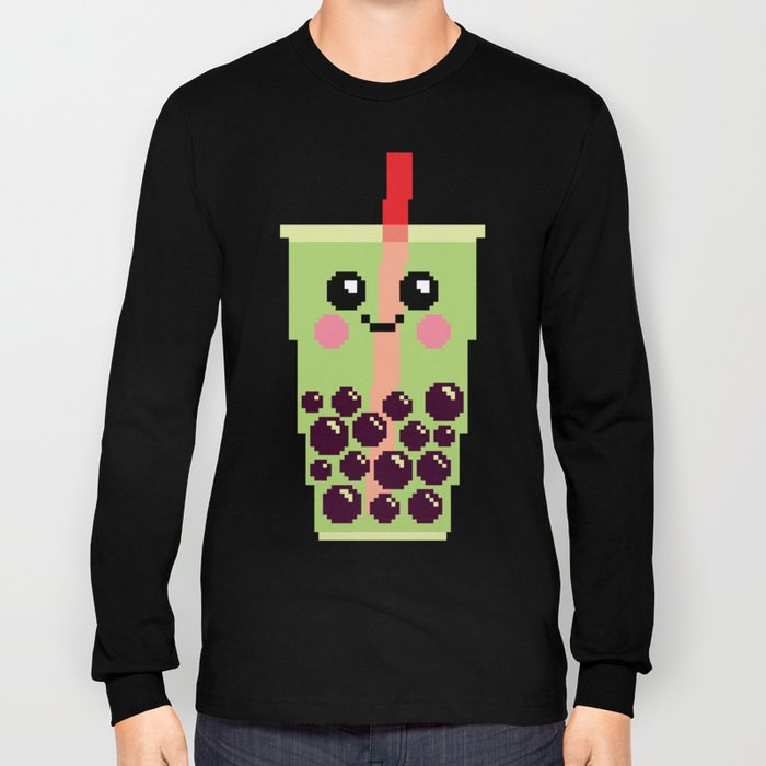 Happy Pixel Bubble Tea Long Sleeve T-shirt