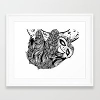 sloth Framed Art Prints featuring Sloth  by Animaux Circus