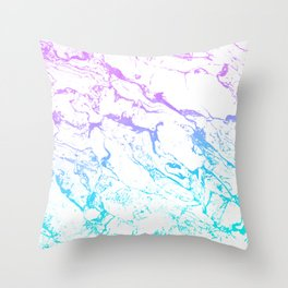 White marble purple blue turquoise ombre watercolor mermaid pattern Throw Pillow