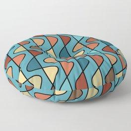 Mid Century Modern Retro Wave Pattern // Turquoise, Ocean Blue, Green, Rust, Clay, Green, Brown, Terra Cotta Floor Pillow