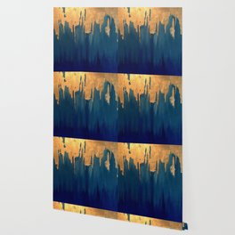 Gold Leaf & Blue Abstract Wallpaper
