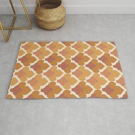 Orange Flower Pattern Rug