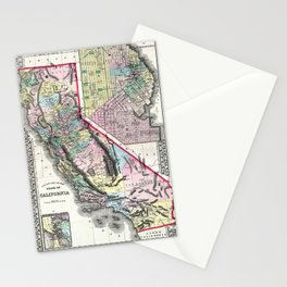 1872 Map of California and San Francisco Stationery Cards