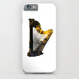 Harp music art gold and black #harp #music iPhone Case