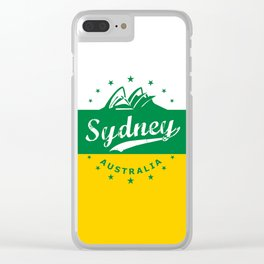 Sydney City, Australia, green yellow, poster Clear iPhone Case