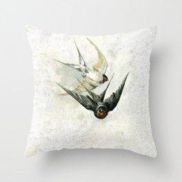 Vintage Soaring Birds Throw Pillow