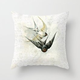 Vintage Soaring Birds Throw Pillow