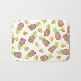 Hand Painted Watercolor Tropical Pineapples Bath Mat