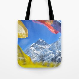 Summit of mount Everest or Chomolungma - highest mountain in the world, view from Kala Patthar,Nepal Tote Bag