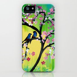 Green With Pink Blossoms iPhone Case