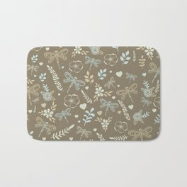 Hand drawing graphic dragonfly nature pattern Bath Mat