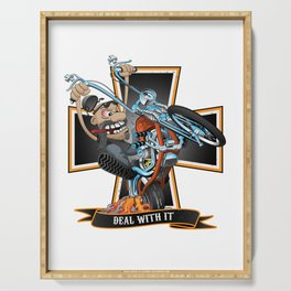 Deal with it -  funny biker riding a chopper, popping a wheelie motorcycle cartoon Serving Tray