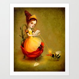 Queen Bee Reads a Love Letter Art Print
