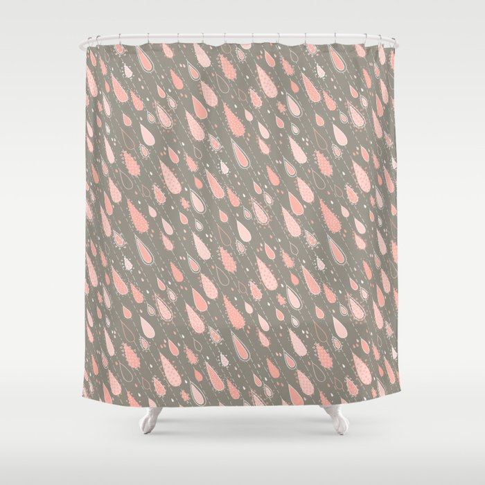 Dusty Rose Rain Drops Shower Curtain By Marketastengl