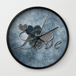 Silver Love Wall Clock
