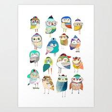 Owls, owl art, owl print, illustration, pattern, Art Print
