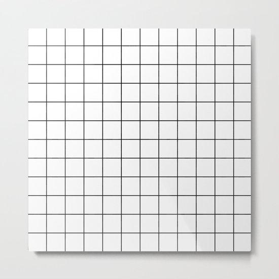 White Black Grid Minimalist Metal Print