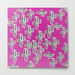 Patch pattern in pink Metal Print